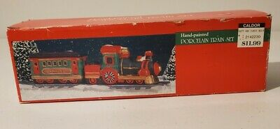 Caldor Hand-Painted Porcelain Train Set for Christmas Village in Box