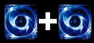 2er PACK Hama PC Gehäuse-Lüfter 80mm beleuchtet blau LED Kühler Gaming Modding