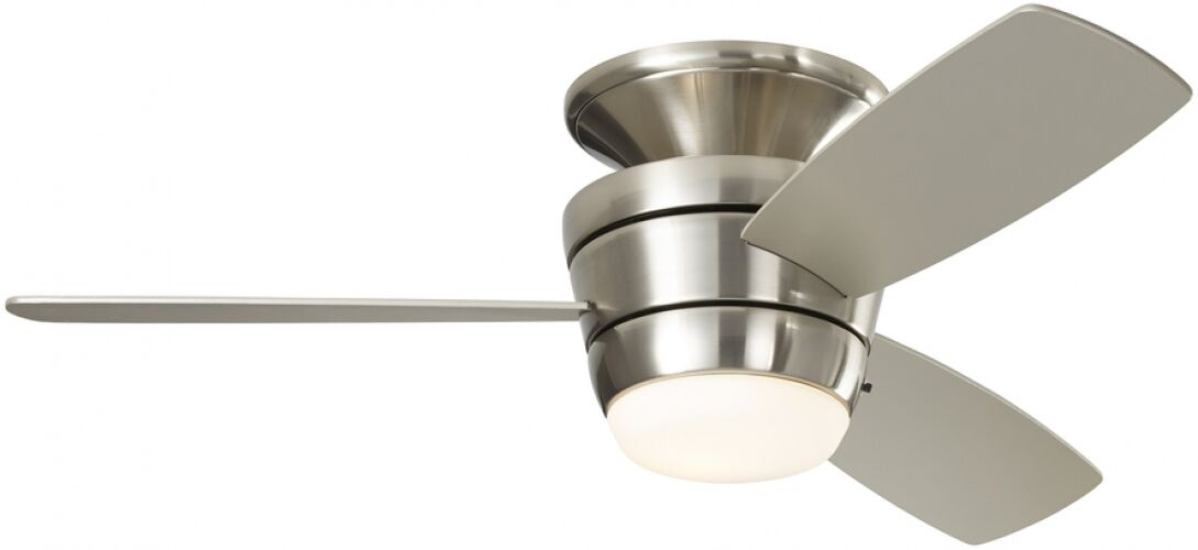 3 Blade 44 In Brushed Nickel Flush Mount Ceiling Fan With