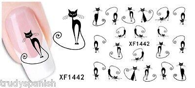 Halloween schwarz katzen Pussy Katze Wassertransfer Nagel Kunst Aufkleber 1442