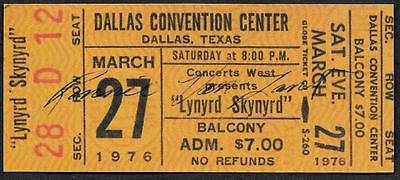 Ronnie Van Zant Autograph & Concert Ticket Reprint On Genuine 1970s Card 9015