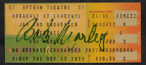 Bob Marley Autograph & Concert Ticket Reprint On Genuine 1970s paper *9017