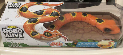 Robo Alive Slither SNAKE Battery-Powered Robotic Real Moves ORANGE - Kid Pet Toy
