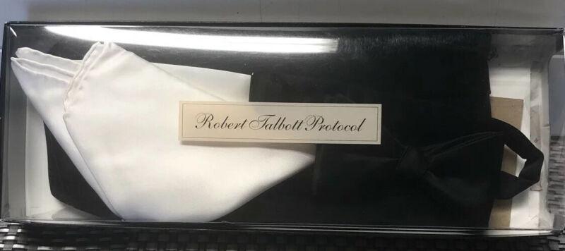 Robert Talbott Protocol Mens Tuxedo Black SATIN SILK Cummerbund ,Bow Tie Set