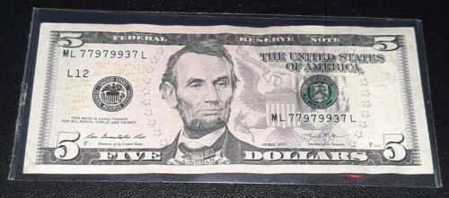 2013 5 Dollar Bill Fancy Trinary Serial Number Beautiful Note ML 779799937 L  - $15.99