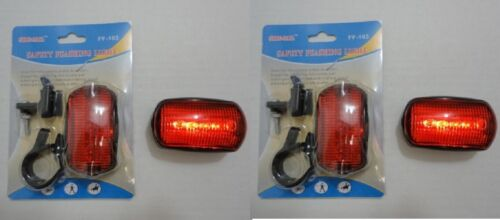 2 NEW 6 FUNCTION BICYCLE/JOGGER/ETC. LED RED FLASHING SAFETY LIGHTS , FREE SHIP