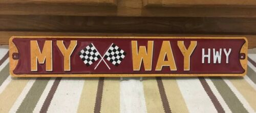 MY WAY HWY Checkered Flags Nascar Race Car Man Cave Gas Can Parts Vintage Style