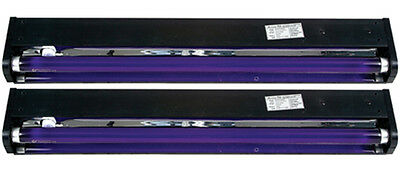 "2 AMERICAN DJ BLACK-24BLB 24"" UV Black Pro Blacklight Dorm Party Light Fixtures"