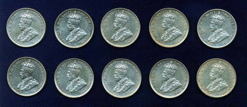 AUSTRALIA  GEORGE V  1935  1 SHILLING SILVER COINS, GROUP  LOT OF  (10)