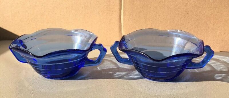 2- VINTAGE HAZEL ATLAS MODERNTONE COBALT DEPRESSION GLASS RUFFLED CREAM SOUPS