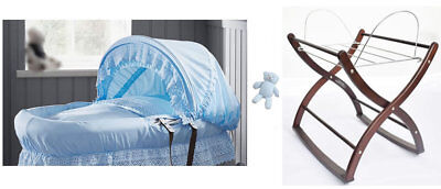 New Izziwotnot royal lace dark wicker moses basket blue with rocking stand /& toy