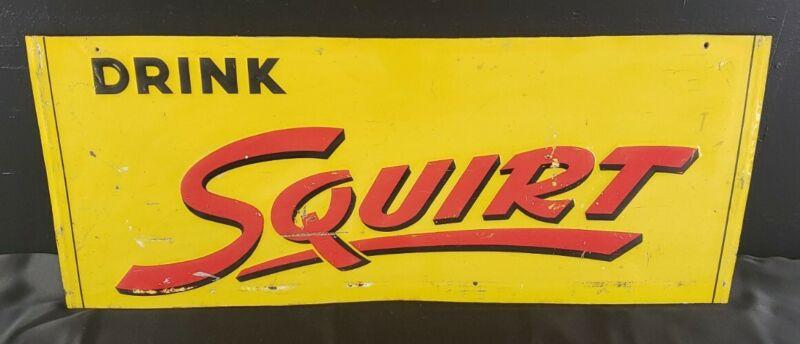 "Original Embossed Squirt Soda Advertising Sign - Vintage - Tin 27.5""x11.5"""