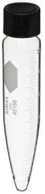 Kimax 45166-50 Glass Conical Bottom 50mL Graduated Centrifuge Tube w/ Cap 12pk Conical Bottom Glass Centrifuge Tubes