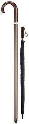 Harvy Men's Crook Handle Aluminum Cane with Black Umbrella Inside Walking Stick