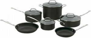 Cuisinart 10-Piece Anodized non stick Cookware Set Glass Lids 66-10 BLOW OUT !!!