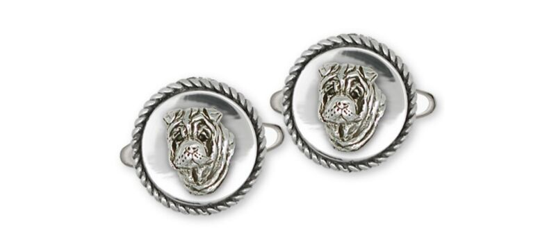Shar Pei Cufflinks Jewelry Sterling Silver Handmade Dog Cufflinks SHP2-CL