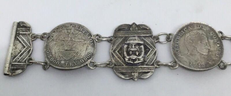Vintage Colombia Coin & Silver Bracelet 1940s (S92)