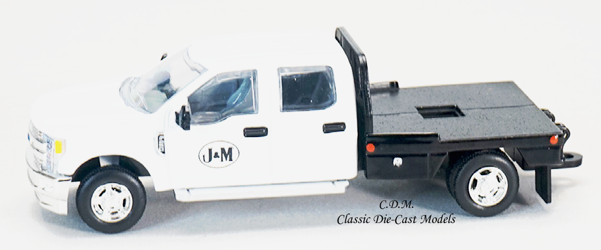 Ford F-250 White Pickup Flatbed J&M MFG 1/64 Scale Diecast Metal SpecCast JMM101