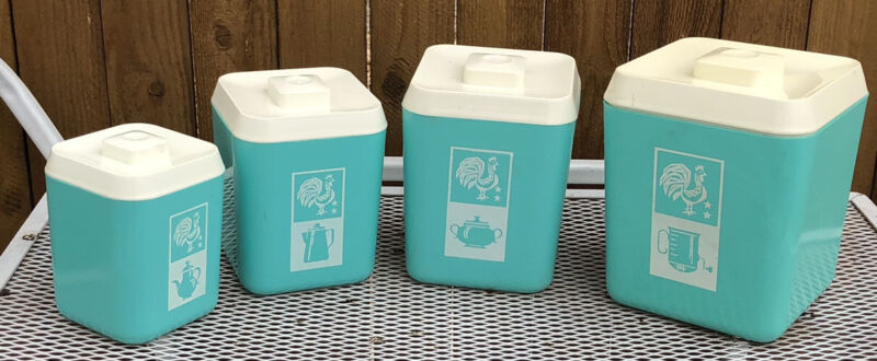 RARE Retro Lustroware Canisters Teal Rooster Pyrex Butterprint Like Pattern