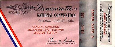 1956 Adlai Stevenson Chicago Democratic Convention Ticket (1322)