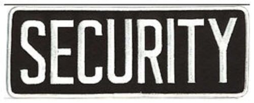 Large Security Back Patch Badge Emblem 11X4 White/black