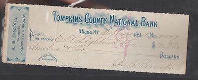 Tompkins County National Bank Ithaca Ny Used Check 1894