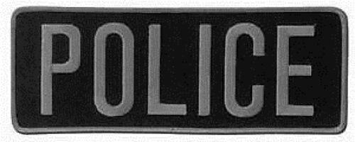 Large Police Back Patch Badge Emblem 11X4 Gray / Black