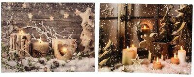 2 Wandbilder LED beleuchtet Weihnachten Kerzen Elch Sterne Bild je 40 x 30 cm