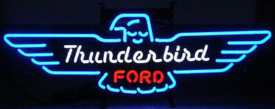 Ford Thunderbird Neon Sign 5THUNDER Blue Thunder Bird w/ FREE Shipping