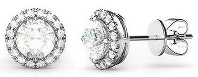 925 Sterling Silver AAAAA Cubic Zirconia Round Halo Earrings Rhodium -