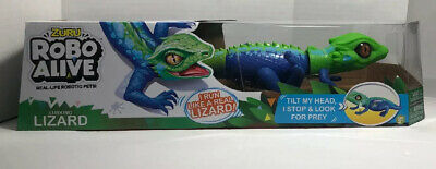 Robo Alive BLUE LIZARD Robotic Pets Animated Lurking Lizard Runs tilts Head