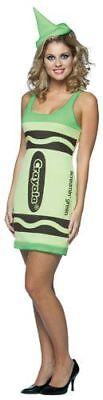 Womens Adult Sexy Crayola Screamin' Green Crayon Tank Dress Costume W/ Hat ()