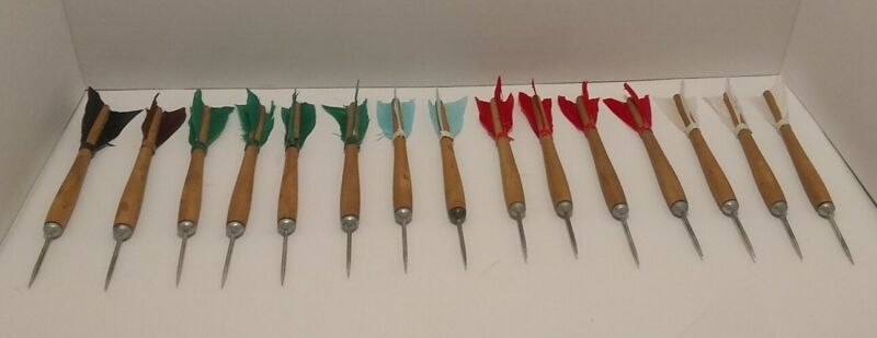 Vintage Wooden Darts, Steel Tips, Lot Of 15, Various Colors, VTG