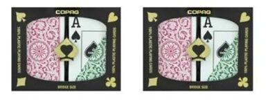 (2 Sets Bridge Size Jumbo Index Green Burgundy Copag Plastic Playing Cards NEW )