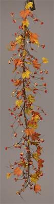 Fall Leaf Garland (New Country Primitive Orange BITTERSWEET FALL LEAVES BERRY GARLAND Lighted)