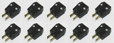 10x Leviton Polarized Ac Plug 2 Prong Light Duty Plug 15a -125v Dark Brown