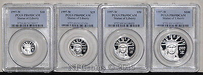 Click now to see the BUY IT NOW Price! 1997 W $10   $100 AMERICAN PLATINUM EAGLE 4 PC SET PR69 PCGS