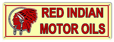 "Reproduction Red Indian Motor Oils Sign 8""x24"""