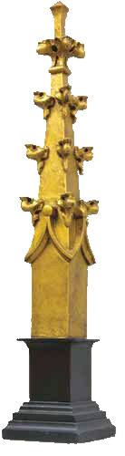 """Gothic Finial in Antique Gold finish on black base 25"""""""