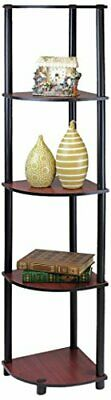 Cherry Corner Shelf - Furinno 99811DC/BK Turn-N-Tube 5 Tier Corner Shelf, Dark Cherry/Black