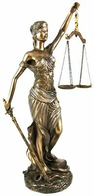 """Greek Lady Blind Scale of Justice Bronze Statue 12"""" Law Lawyer Gift Unique NEW"""