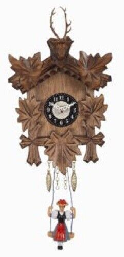 Swinging Girl Doll Quartz Movement Wooden German Deer Head Clock Sound Germany