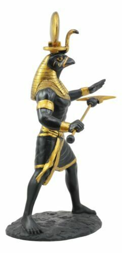 "Ebros Egyptian God Horus Ra With Sun And Uraeus Disc Statue 11""H Figurine"