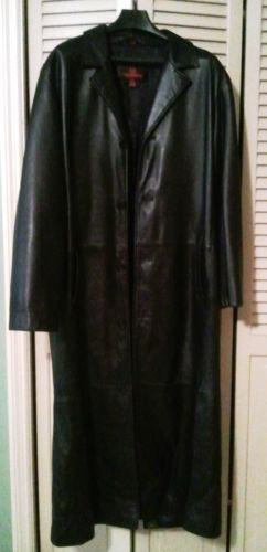 Mens Full Length Leather Coat Ebay