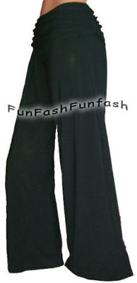 FD9 FUNFASH FLARE LONG BLACK GAUCHO PALAZZO PANTS WOMENS NEW Size L Large  9 -