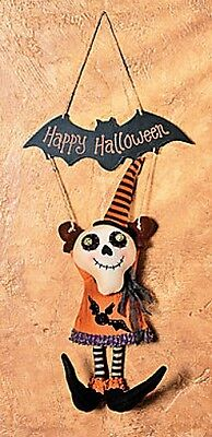 Skeleton Plush Happy Halloween Hanging Door wall Sign ](Happy Halloween Door Sign)