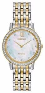Citizen EX1484-57D Women's Eco-Drive Two Tone Silhouette Crystal MOP Dial Watch