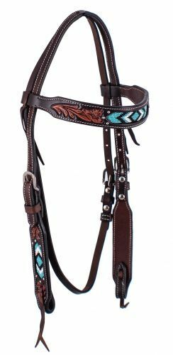 Western Horse Turquoise Hand Beaded and Tooled Dark Leather Headstall Bridle