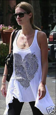 Lauren Moshi Lace Heart Assym Tank in White SMALL NEW- T5-LHT