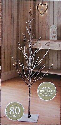 🌹New 4 Ft Snowy Effect 80 Warm White LED Twig Halloween Christmas Tree Outdoo - Halloween Twig Tree